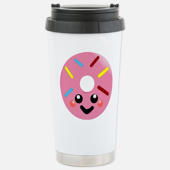 Cute Donut face Stainless Steel Travel Mug