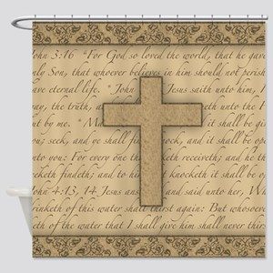 Cross W/ Bible Verses Shower Curtain