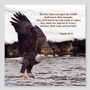"ISAIAH 40:31 WINGED EAGLES Square Car Magnet 3"" x"