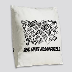 Real Mans Puzzle-Small Block V Burlap Throw Pillow