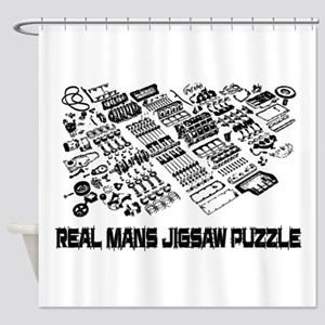 Real mans puzzle-small block V8 Shower Curtain