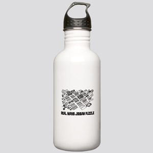 Real mans puzzle-small block V8 Water Bottle