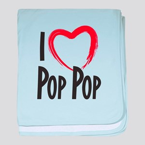 I heart pop pop, I love pop pop baby blanket