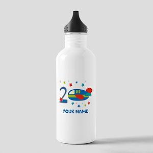2nd Birthday Airplane Water Bottle