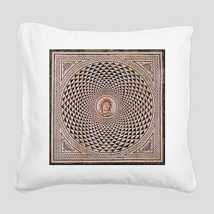 Floor Mosaic of Medusa Square Canvas Pillow