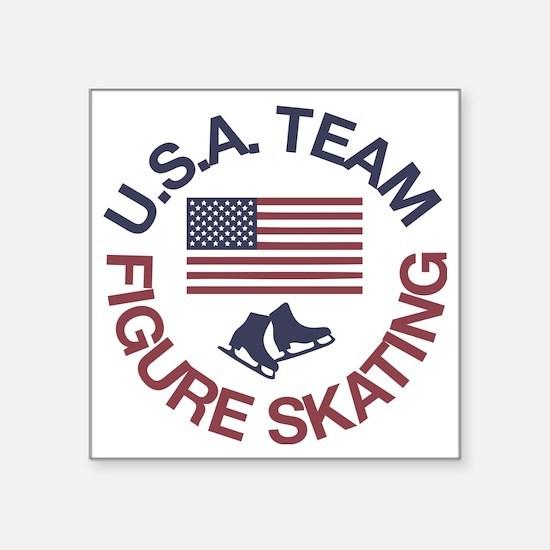 "U.S.A. Team Figure Skating Square Sticker 3"" x 3"""