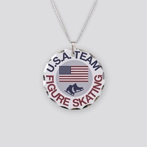 U.S.A. Team Figure Skating Necklace Circle Charm