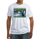 Sailboats & Black Lab Fitted T-Shirt