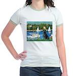 Sailboats & Black Lab Jr. Ringer T-Shirt