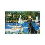 Sailboats & Black Lab Rectangle Magnet (10 pack)