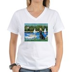 Sailboats & Black Lab Women's V-Neck T-Shirt