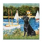 Sailboats & Black Lab Tile Coaster