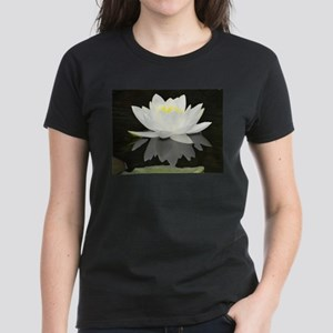 White water lily with black background T-Shirt