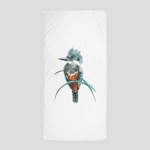 Watercolor Painting Kingfisher Bird Beach Towel
