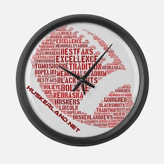 Football Words Large Wall Clock