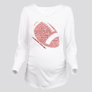 Football Words Long Sleeve Maternity T-Shirt