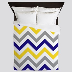 Gray,white,yellow and Navy zigzags Queen Duvet
