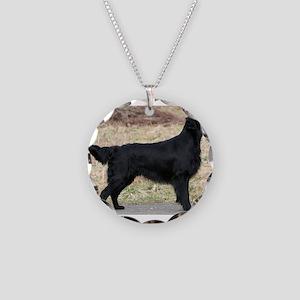 flat coated retriever black full Necklace
