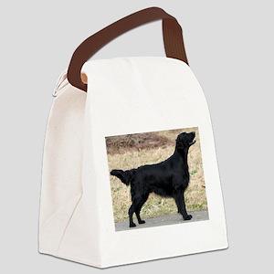 flat coated retriever black full Canvas Lunch Bag