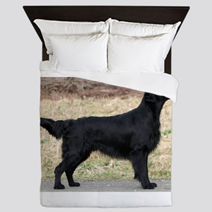 flat coated retriever black full Queen Duvet