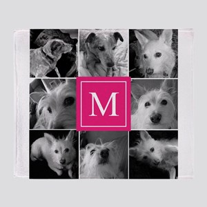 Photo Block with Rose Monogram Throw Blanket