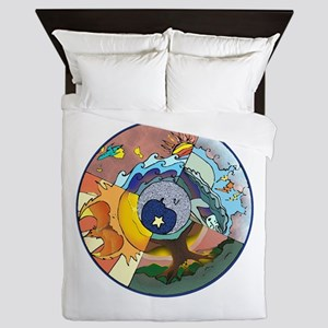 Healing Circle - white Queen Duvet