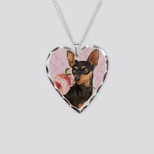 Min Pin Rose Necklace Heart Charm