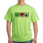 Peace Love Drums Green T-Shirt