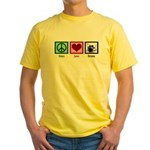 Peace Love Drums Yellow T-Shirt