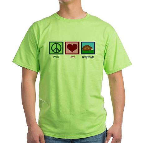 Peace Love Hedgehogs Green T-Shirt
