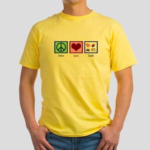 Peace Love Sushi Yellow T-Shirt