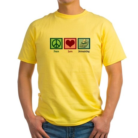 Peace Love Accounting Yellow T-Shirt