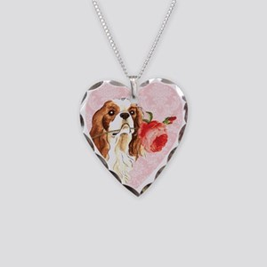 Cavalier Rose Necklace Heart Charm