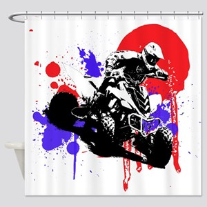 Red Splatter ATV Shower Curtain