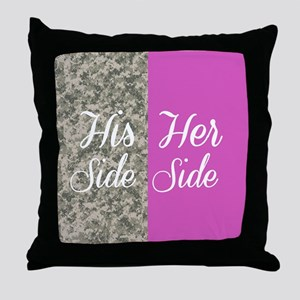 Camo His Side/ pink Her Side Throw Pillow