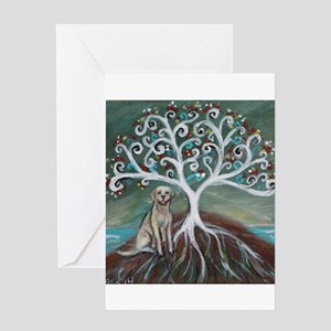 Yellow Labrador Tree of Life Greeting Cards
