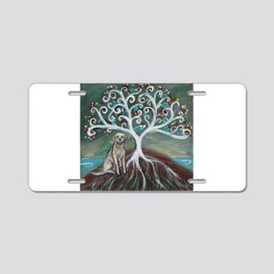 Yellow Labrador Tree of Life Aluminum License Plat