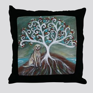 Yellow Labrador Tree of Life Throw Pillow