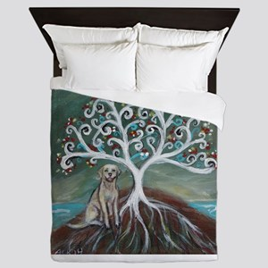 Yellow Labrador Tree of Life Queen Duvet