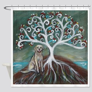 Yellow Labrador Tree of Life Shower Curtain