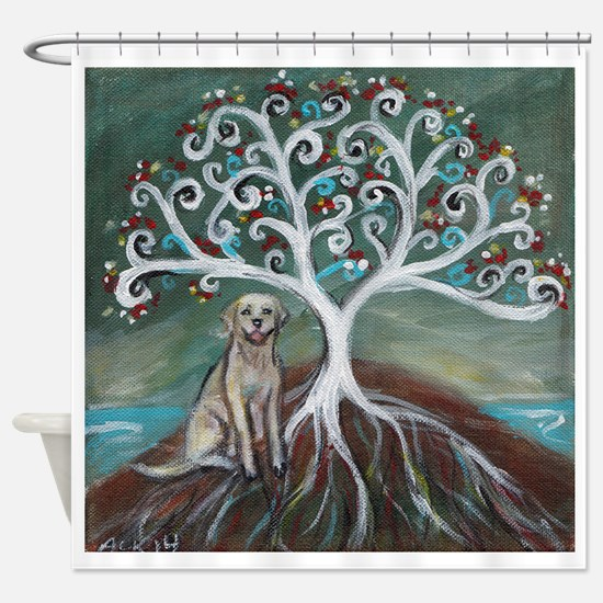 Yellow Labrador Tree of Life Shower Curtain
