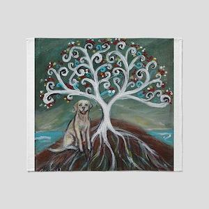 Yellow Labrador Tree of Life Throw Blanket