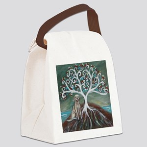 Yellow Labrador Tree of Life Canvas Lunch Bag