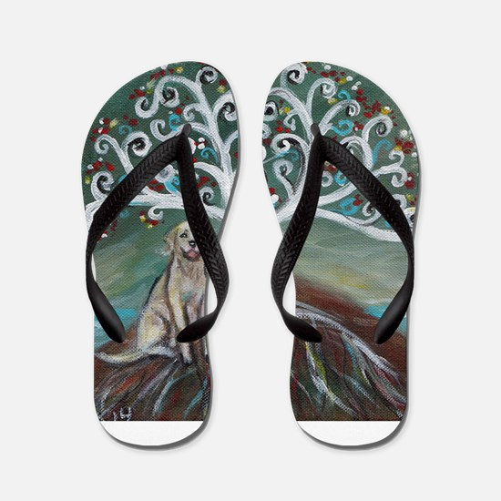 Yellow Labrador Tree of Life Flip Flops