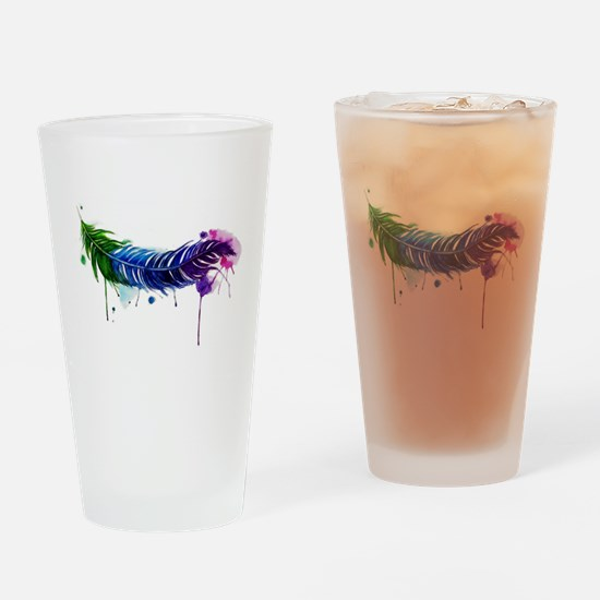 Watercolor Feather Drinking Glass