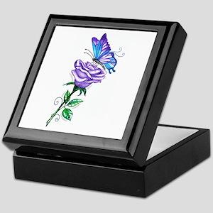 Purple Rose with Butterfly Keepsake Box
