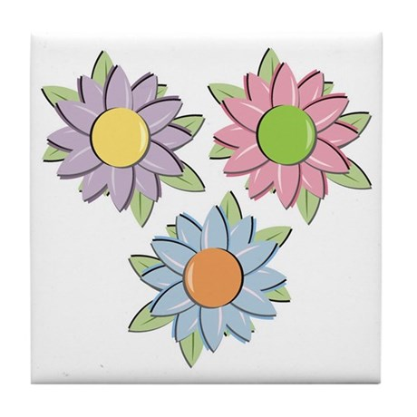 Pretty Mother's Day Cartoon Flowers Tile Coaster