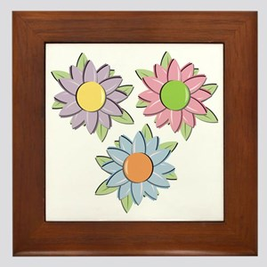 Pretty Mother's Day Cartoon Flowers Framed Tile