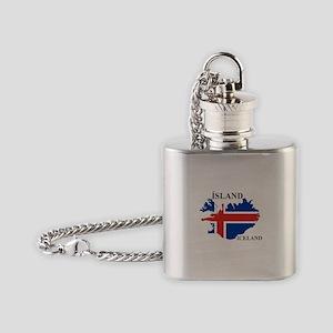 IcelandFlagMap Flask Necklace