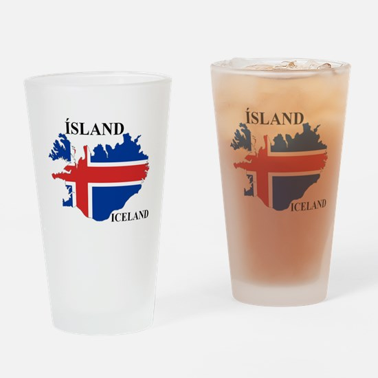 IcelandFlagMap Drinking Glass